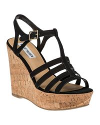Steve Madden - Black Nalla Leather Wedge Sandals - Lyst