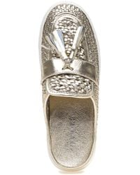 J/Slides - Metallic Carissa Platino Leather Slide - Lyst