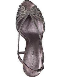 Pelle Moda - Metallic Firefly Evening Sandal Pewter Leather - Lyst