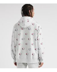 Champion - Gray Reverse Weave All-over Print Hoodie for Men - Lyst