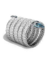 John Hardy | Metallic Cobra Multiple Coil Bracelet With Blue Topaz And Diamonds | Lyst