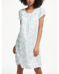 ddaa07a016 John Lewis. Women s Blue Lily Floral Print Short Sleeve Cotton Nightdress