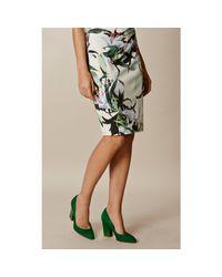 Karen Millen - Green Almond Toe Block Heeled Court Shoes - Lyst