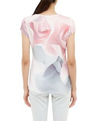 Ted Baker | Pink Ciaa Porcelain Rose Fitted T-shirt | Lyst