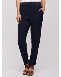 Jigsaw - Blue Relaxed Crepe Trousers - Lyst