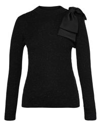 Ted Baker - Black Gabiell Bow-detail Sparkle Knit Sweater - Lyst