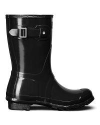 HUNTER | Black Women's Original Short Gloss Wellington Boots | Lyst