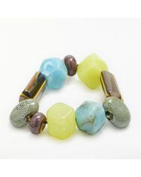 One Button - Blue Funky Fun Glass Bead Bracelet - Lyst