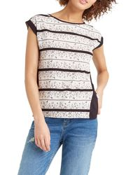 Oasis | Gray Floral Wiggle Lace Stripe T-shirt | Lyst