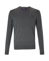 Fred Perry - Gray Classic Tipped V-neck Jumper for Men - Lyst