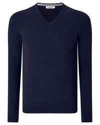J.Lindeberg   Blue Lymann Merino Wool V-neck Jumper for Men   Lyst
