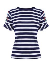 John Lewis - Blue Embroidered Strip Tee - Lyst