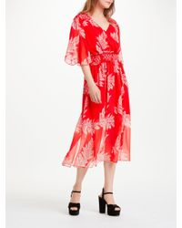 Somerset by Alice Temperley Palm Print V-neck Dress in Red - Lyst 8dd9f75b1