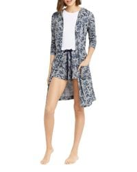 Oasis - Gray Floral Printed Robe - Lyst