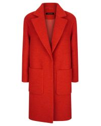 Jaeger | Red Boiled Wool Patch Pocket Coat | Lyst