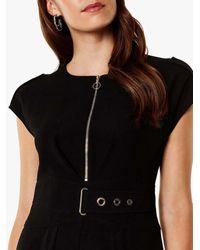 Karen Millen - Black Corsetry Waist Jumpsuit - Lyst