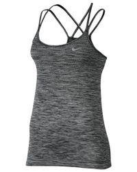 Nike | Black Dri-fit Knit Racerback Running Tank Top | Lyst