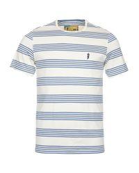 Barbour | Blue Steve Mcqueen Track Striped T-shirt for Men | Lyst