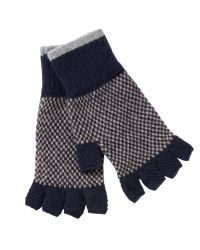 Barbour | Blue Brodie Check Lambswool Fingerless Gloves for Men | Lyst