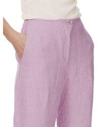 Brora - Purple Pin Stripe Cropped Linen Trousers - Lyst