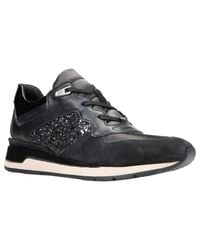 4150e4c7415 Geox Shahira Breathable Lace Up Trainers in Black - Lyst