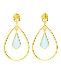 Auren | Metallic 18ct Gold Vermeil Aqua Chalcedony Kite Drop Earrings | Lyst