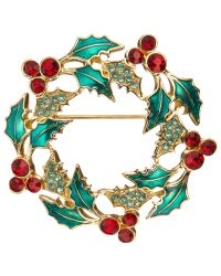 John Lewis | Green Christmas Wreath Brooch | Lyst