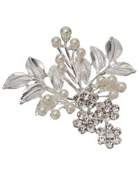 John Lewis | Metallic Faux Pearl And Glass Crystal Leaf Brooch | Lyst