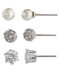John Lewis | Metallic Faux Pearl And Diamante Round Stud Earrings | Lyst