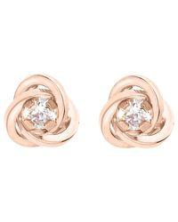 Ib&b | Pink 9ct Gold Knot Stud Earrings | Lyst