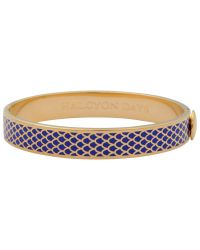 Halcyon Days | Blue 18ct Gold Plated Enamel Salamander Bangle | Lyst