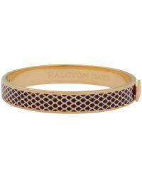 Halcyon Days - Purple 18ct Gold Plated Enamel Salamander Bangle - Lyst