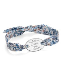 Merci Maman - Blue Sterling Silver Personalised Oval Liberty Bracelet - Lyst