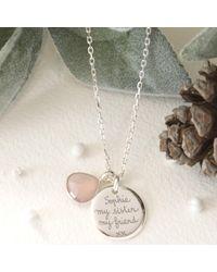 Merci Maman - Metallic Personalised Gemstone Disc Pendant Necklace - Lyst