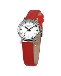Mondaine | Red Unisex Evo Leather Strap Watch | Lyst