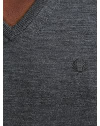 Fred Perry - Gray Classic Tipped V-neck Sweater for Men - Lyst