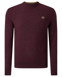 Fred Perry | Purple Oxford Texture Merino Wool Crew Neck Jumper for Men | Lyst