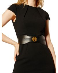 Karen Millen - Black Perforated Turn Clasp Belt - Lyst