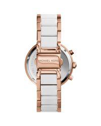 Michael Kors - Pink Mk5774 Women's Parker Ceramic Chronograph Bracelet Strap Watch - Lyst