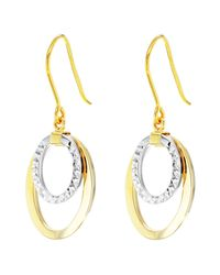 Ib&b - Metallic 9ct Gold 2 Tone Double Oval Drop Earrings - Lyst
