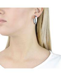 Ib&b - Metallic 9ct White Gold Polished Huggy Hoop Earrings - Lyst