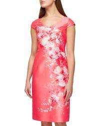 Jacques Vert - Pink Shantung Floral Placement Dress - Lyst