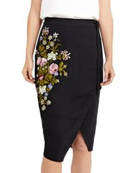 Oasis - Black Spring Embroidered Skirt - Lyst