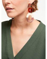 One Button - Multicolor Oval Statement Drop Earrings - Lyst