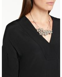 John Lewis - Gray Graduated Faux Pearl Wire Necklace - Lyst