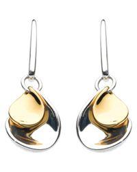 Kit Heath - Metallic Double Petal Sterling Silver 18ct Gold Plated Drop Earrings - Lyst