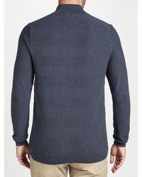John Lewis - Blue Cotton Cashmere Textured Zip Neck Jumper for Men - Lyst