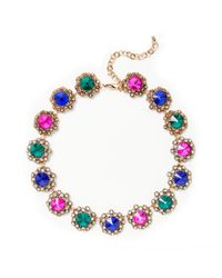 John Lewis - Green Antique Glass Stone Statement Necklace - Lyst