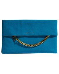 1dfc9844abc3 Karen Millen Leather Chain Zip Clutch Bag in Blue - Lyst