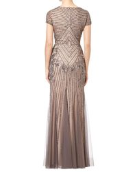 Adrianna Papell - Multicolor Short Sleeve Beaded Godet Gown - Lyst